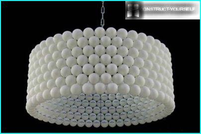 Lamp made of plastic beads