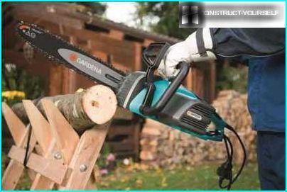 Ķēde elektriskais zāģis izmantošanai mājsaimniecībā