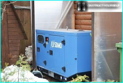 The diesel generator in the courtyard