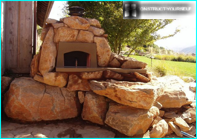 Stone fireplace in the garden