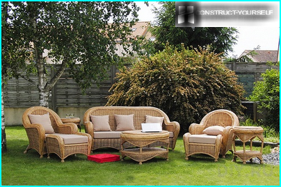 Wicker furniture for the garden