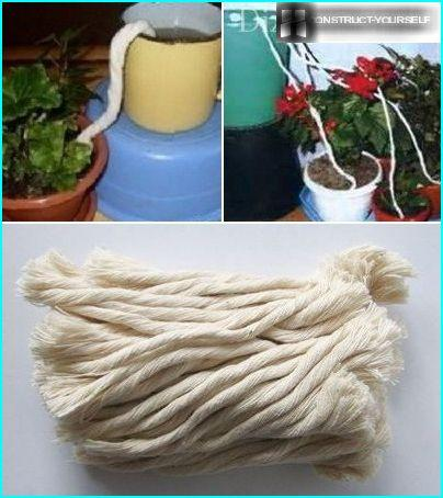 Rope wick watering