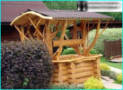 The most common garden building compact, solid wood and different types of timber