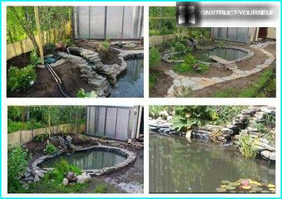 Fill the pond with water and installation of equipment