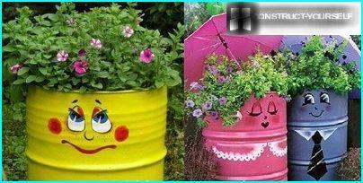 Ein Blumenbett aus Eisen Barrel