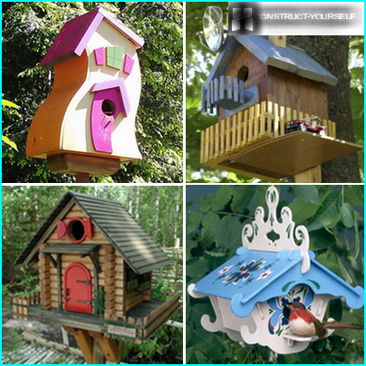 Decorative bird houses decorated
