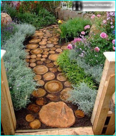Cut down a tree in the design of the garden paths