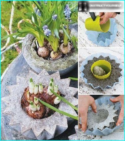 creazione manuale di vasi in cemento