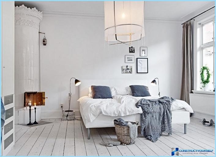 Stile scandinavo all'interno della camera da letto