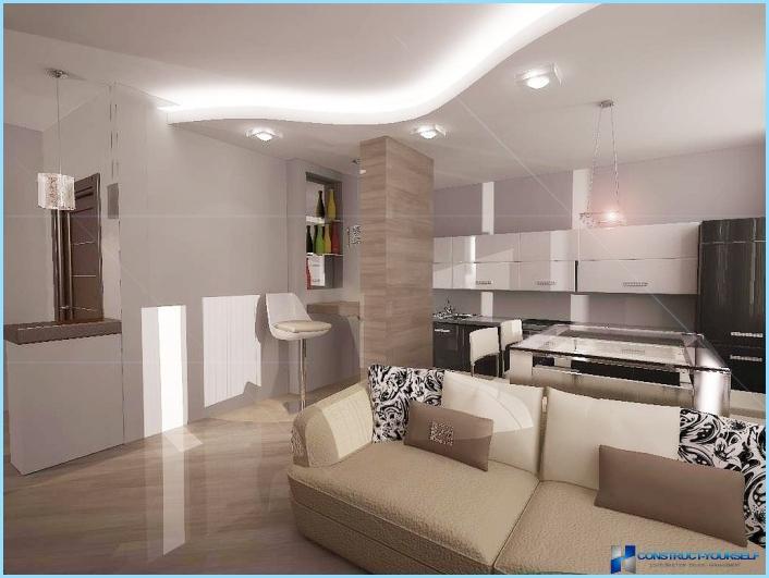 Det indre af stuen kombineret med køkkenet 18, 20, 25 kvm