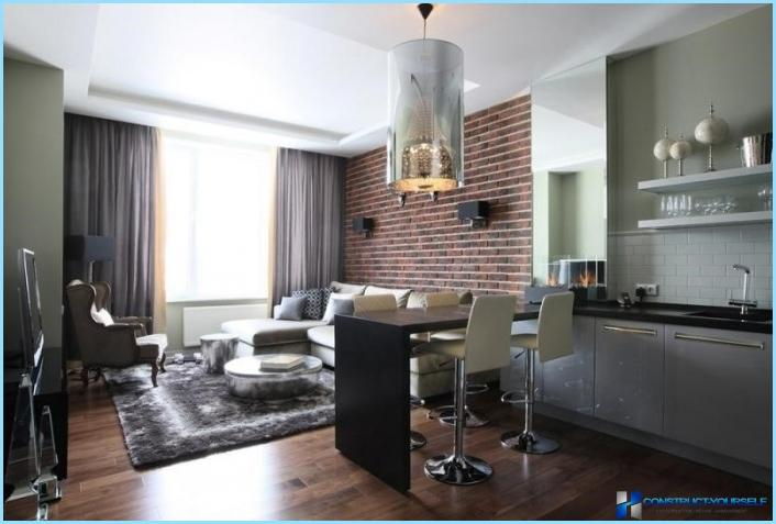 L'interno del soggiorno combinato con la cucina 18, 20, 25 mq