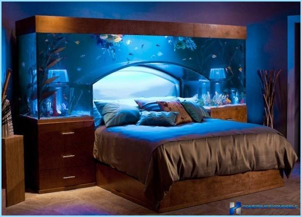 Design en stue med et akvarium