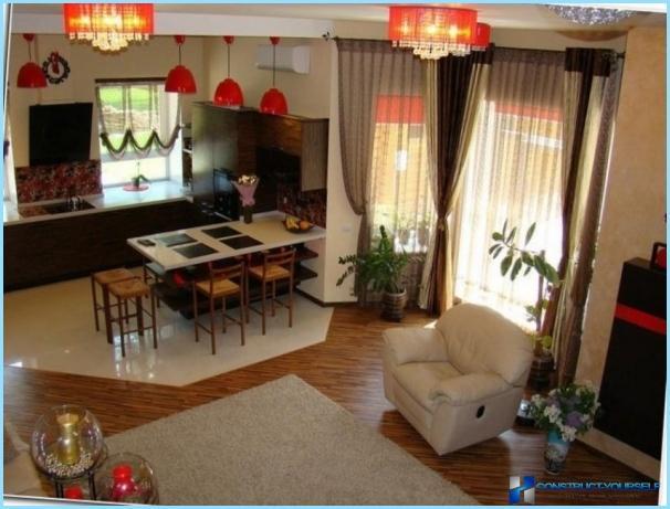 Suunnittelu olohuone ja keittiö