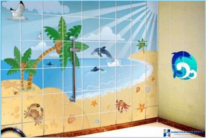 Panels of tiles in the bathroom