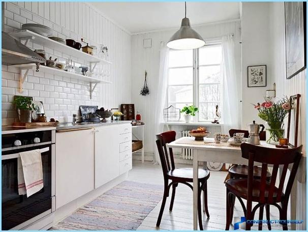Skandināvu stila virtuves interjers