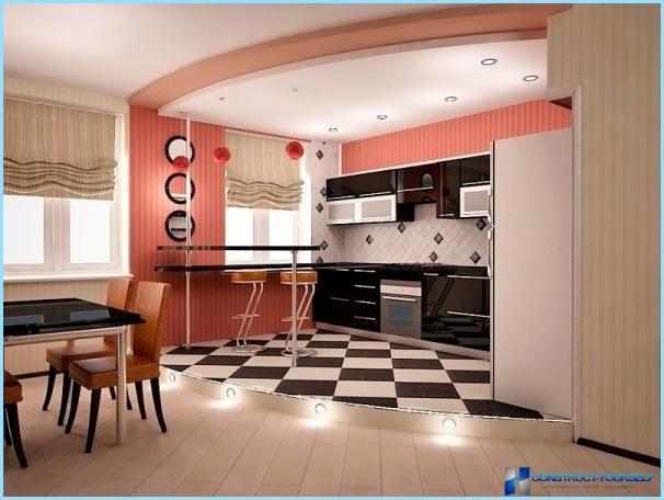 Podiums virtuves interjerā