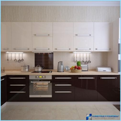 Kitchen in white and brown colors