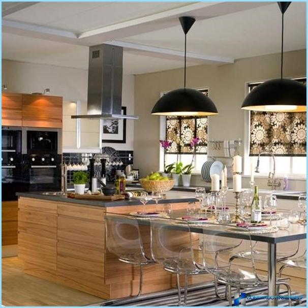 Chandeliers in the kitchen interior