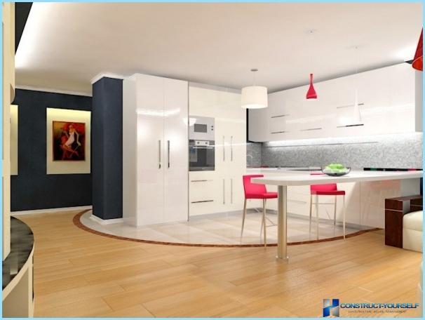 Minimalistisk stil i det indre af køkkenet