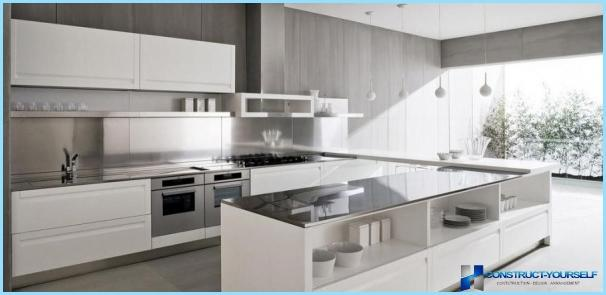 High-tech style in the interior of the modern kitchen