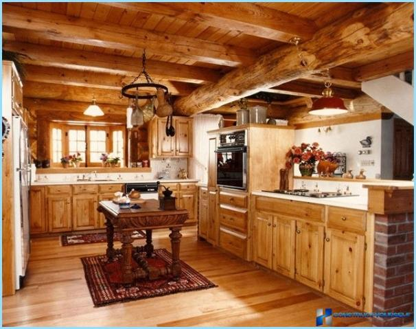 Kitchen in a wooden house — modern design in the country