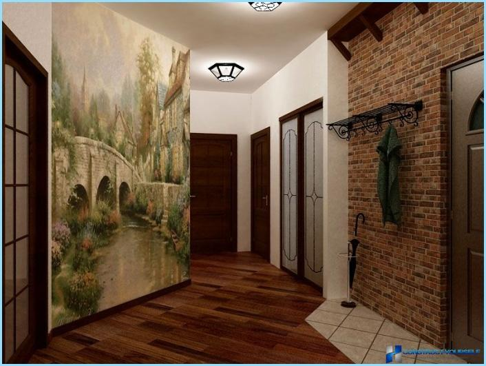 The design of the hallway with Wallpaper
