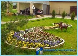 Schönes Design und Dekoration von Blumenbeeten und Blumenbeeten im Land