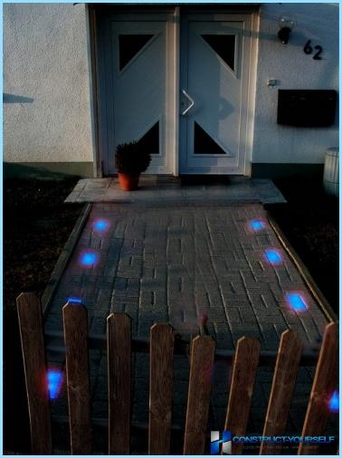Glowing paving tiles