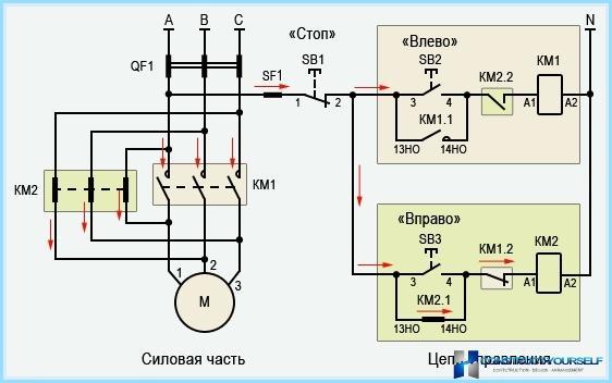 Schema di collegamento del motorino di avviamento magnetico inverso