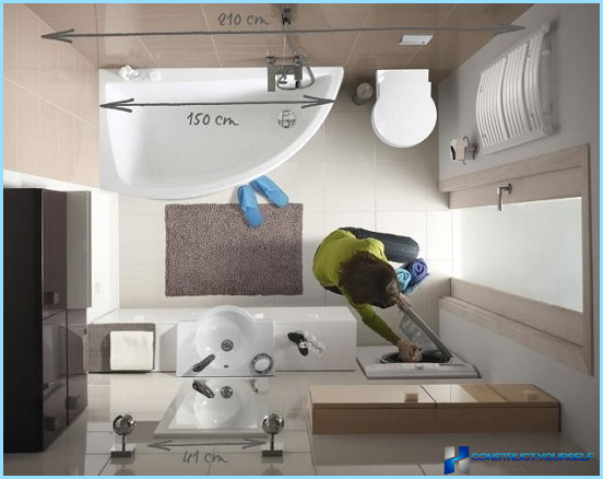 Moderne reparationsideer til et kombineret badeværelse i en lille lejlighed