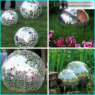 Boules de mosaïque en miroir pour le jardin