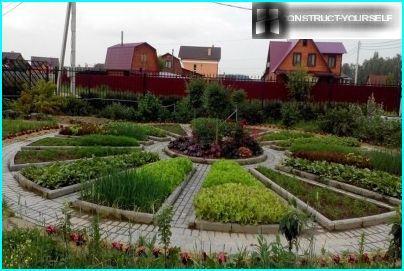 Verschiedene Grüntöne in einem dekorativen Garten machen es hell