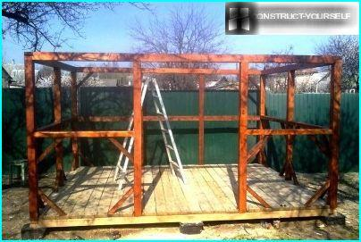 The frame of the gazebo, painted-stained in 2 coats