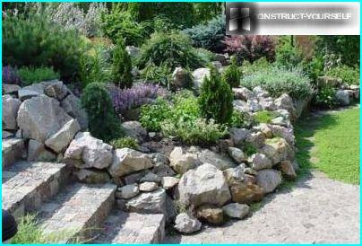 A retaining wall of stones