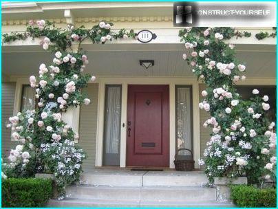 Säulen mit Blumen - eine elegante Dekoration des Haupteingangs