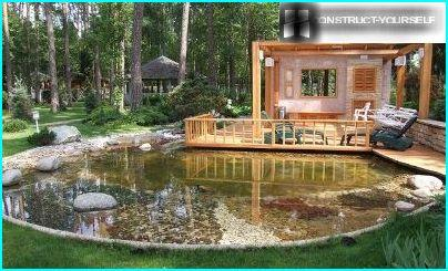 Outdoor kitchen at the pond