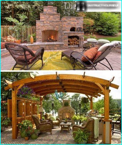 The cozy atmosphere with outdoor fireplace