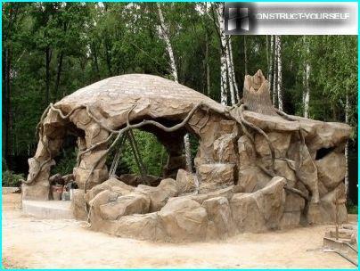 Arbor lavet af sten og cement