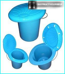 Bucket-toilet, types of
