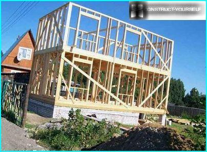 Installation of frame walls, two-storey country house