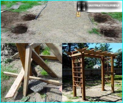 The stages of construction of the pergola