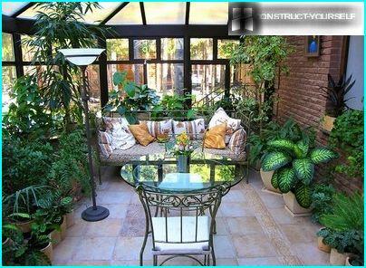 The lush green veranda