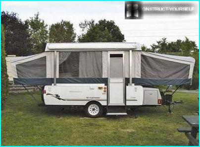 Gray trailer tent