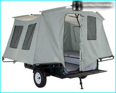 The trailer tent inside