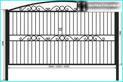 A combination of wrought iron fences