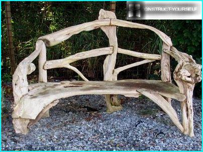 Unique bench made from a natural material