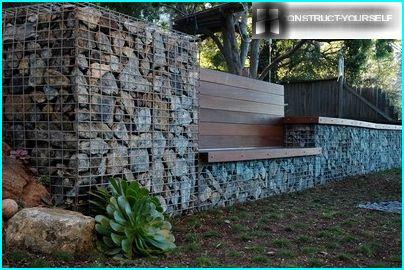 Wooden benches for gabion constructions