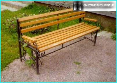 Garden bench with wrought iron elements