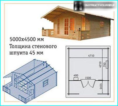 Plan and view of house