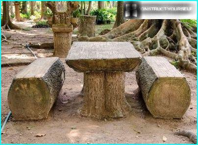 Table and benches made of logs